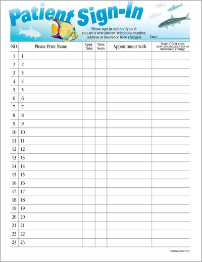 printable patient sign in sheet template