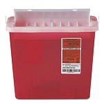 Sharps Container for Patient Room, Plastic, 5qt, Rectangular, Red