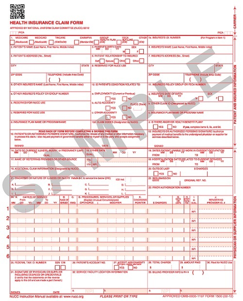 Laser CMS-1500 Form (New 02/12 version)