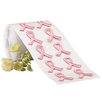Embroidered Ribbon, Sticker, Roll, Peel, Stick, Breast Cancer Awareness, 100 stickers per roll.