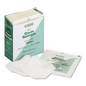 Caring Woven Gauze Sponges, 4 x 4, Sterile, 12-Ply, 600/Carton