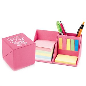 Pink Recycled Note Cube Caddy