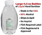 Liquid Sanitizer  11.5 oz flip cap bottle - 80% alcohol