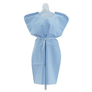 Disposable Patient Gowns, 3-Ply T/P/T, Blue, 50/Carton