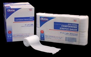 "DUKAL Basic Conforming Stretch Gauze 4"" - sold per case 12 rolls per bag, 8 bags per case"