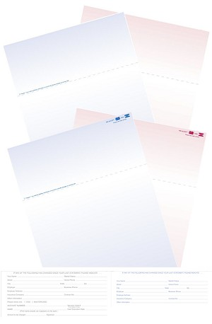 Medical Billing Statements, 8.5 x 11, Blue/Burgundy, Perforated, with or w/o credit card, 500/pk