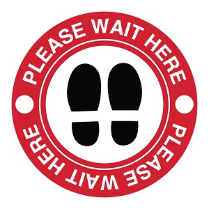 'Wait Here' Circle Floor Decal - 12in