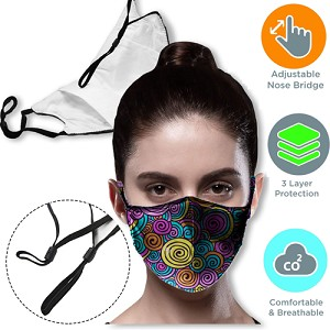 3 layer Face Mask with filter pocket & adjustable loop masks
