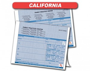 California State Authorized Rx Pads,1 Part, 100 per pad, 16 pad min