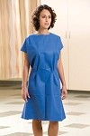 "Exam Gown, Non-Woven, 30"" x 42"", Blue, 50/cs"